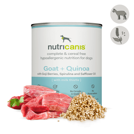 Adult wet dog food: 800g Goat + Quinoa with milk thistle