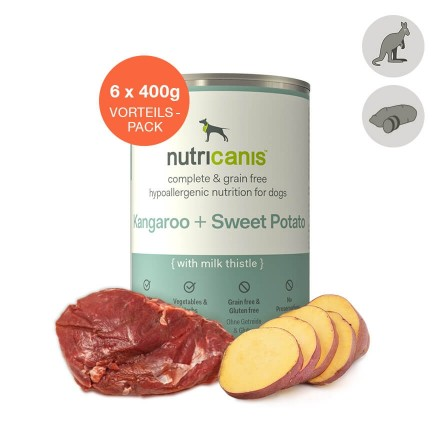 Adult wet dog food: 6 x 400g Kangaroo + Sweet Potato