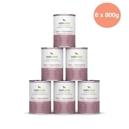 Adult wet dog food: 6 x 800g Deer + Topinambur with milk thistle