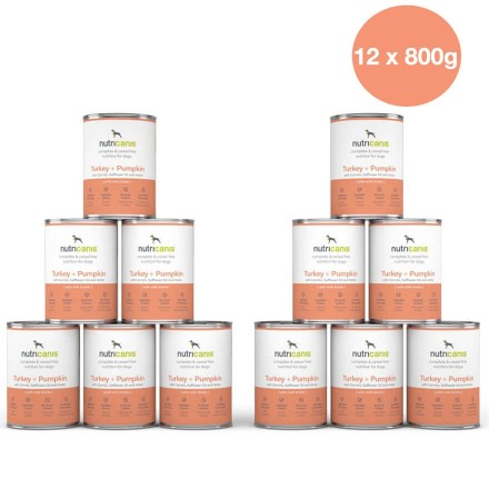 Adult wet dog food: 12 x 800g Turkey + Pumpkin with milk thistle