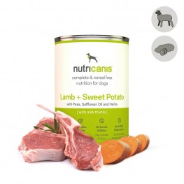 Adult wet dog food: 400g Lamb + Sweet potato with milk thistle