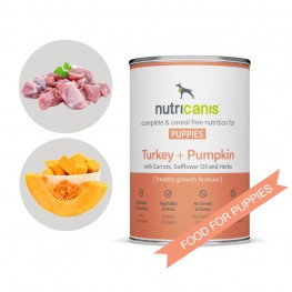 Wet food for puppies and adolescent dogs: 400g Turkey + Pumpkin